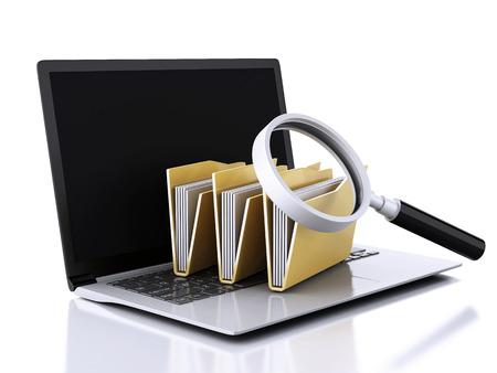 Bild 3d renderer Abbildung. Laptop, Lupe und Computerdateien Standard-Bild - 34512410