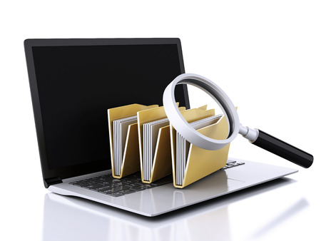 image of 3d renderer illustration. laptop, magnifying glass and computer files Archivio Fotografico