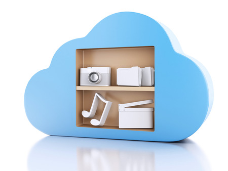 3d illustration. Cloud computing concept with Multimedia icons on white background illustration