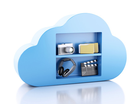 3d renderer illustration. Cloud computing concept with Multimedia icons on white background illustration