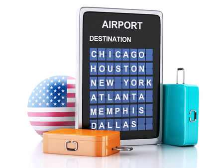 departures: 3d illustration render. airport board, united states departures information and travel suitcases on white background