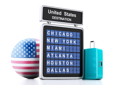 3d illustration render. airport board, united states departures information and travel suitcases on white background