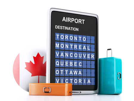 3d illustration render. airport board, Canada departures information and travel suitcases on white background illustration