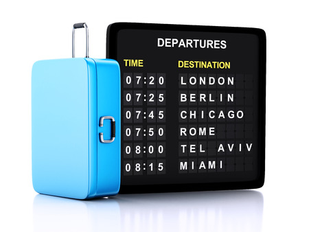 3d illustration render. airport board and travel suitcases on white background Stock fotó