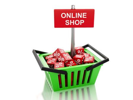 3d renderer illustration. Shopping basket with red cubes. online concept on white background illustration