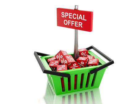 3d renderer illustration. Shopping basket with red cubes. special offer concept on white background illustration