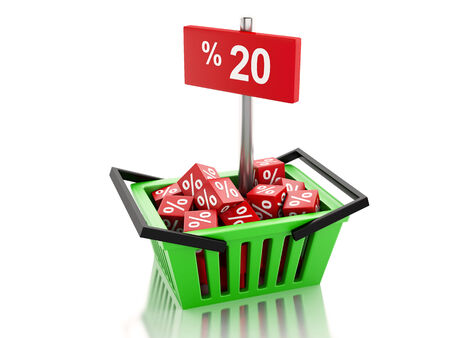 3d renderer illustration. Shopping basket with red cubes and 20 percent  on white background illustration