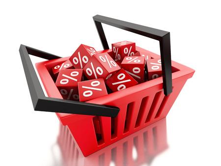 3d renderer illustration.  Shopping basket with discount cubes on white background illustration