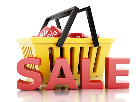 3d renderer illustration.  Shopping basket with discount cubes. sale concept on white background illustration