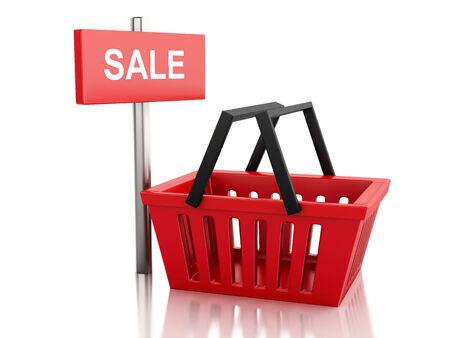 3d renderer illustration. red shopping basket. sale concept on white background illustration