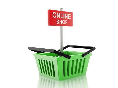 3d renderer illustration.  Shopping basket. online shop concept on white background illustration