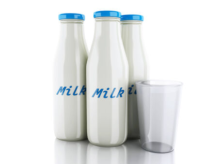 pasteurized: 3d renderer illustration. Milk bottles and glass isolated on white background.