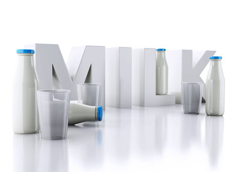 milkman: 3d renderer illustration. Milk bottles and glass isolated on white background.