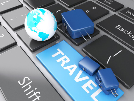 e ticket: 3d renderer illustration. travel suitcase and earth on computer keyboard. Travel concept Stock Photo