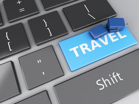 e ticket: 3d renderer illustration. travel suitcas on computer keyboard. Travel concept