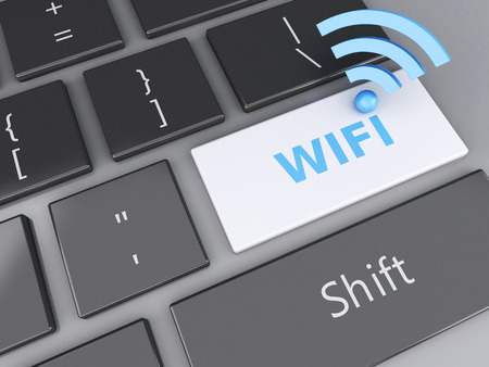 wireless connection: image of 3d illustration. Wifi icon and wifi button on computer keyboard. Stock Photo