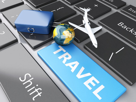 3d renderer illustration. travel suitcase, airplane and earth on computer keyboard. Travel concept illustration