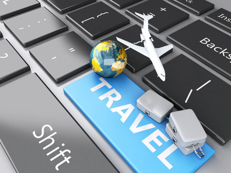e ticket: 3d renderer illustration. travel suitcase, airplane and earth on computer keyboard. Travel concept Stock Photo