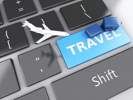 e ticket: 3d renderer illustration. travel suitcase and airplane on computer keyboard. Travel concept