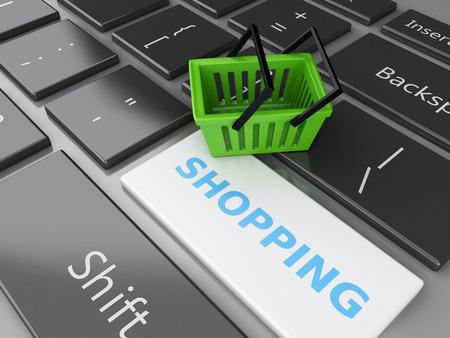 3 d レンダラーのイラスト。コンピューターのキーボードでのショッピング バスケット。オンライン ショッピングの概念。 写真素材