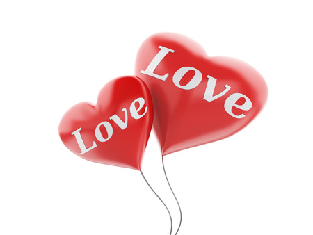 red balloons: 3d renderer illustration. red heart balloons with love text. valentine