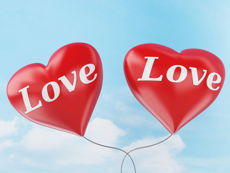 red balloons: 3d rendered illustration red heart balloons with love text.