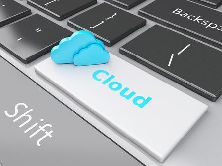 3d rendered illustration Cloud button on computer keyboard. illustration