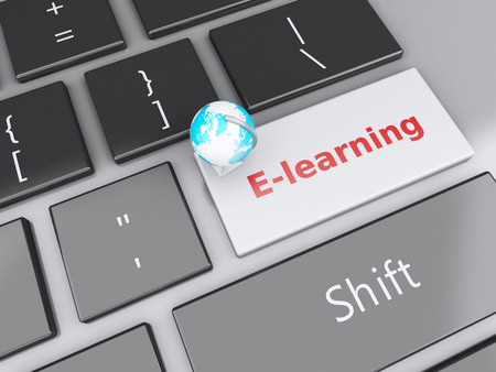 computer education: 3d renderer illustration. Earth icon on computer keyboard. Online Education concept.
