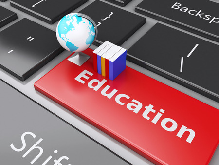 computer education: 3d renderer illustration. books and earth icon on computer keyboard. Online Education concept.