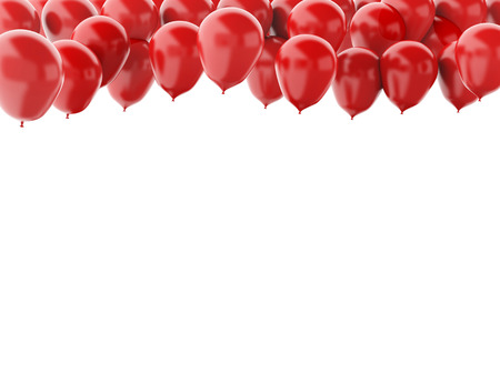 red balloons: 3d renderer illustration. Red balloons  isolated on white background Stock Photo