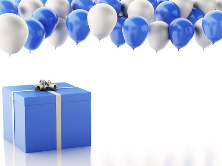 3d renderer illustration. Birthday gift box with blue and white baloons isolated white background Фото со стока