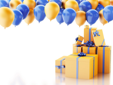 3d renderer illustration. Birthday gift box with blue and orange baloons isolated white background