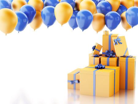Ilustración de render 3d. Caja de regalo de cumpleaños con globos azules y naranjas aislado fondo blanco Foto de archivo - 35276409