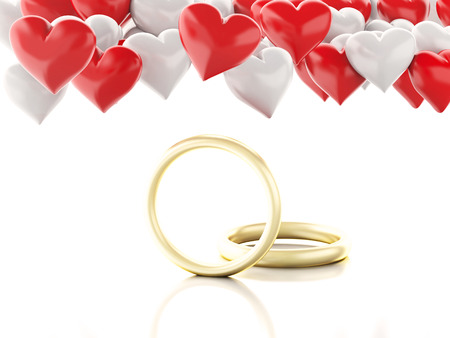 gold ring: 3d renderer illustration. Gold ring and Heart balloons. Valentines Day concept. isolated white background