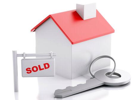 3d renderer illustration. Sold house sign on white background. Real estate concept