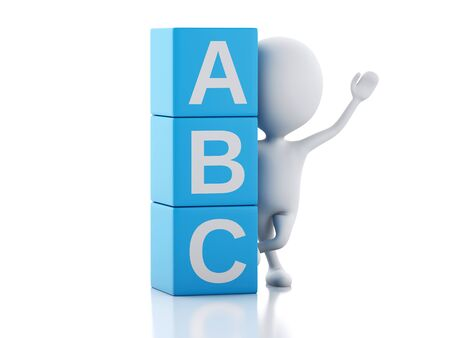 idea cartoon: 3d illustration. White people with ABC blocks. Isolated on white background.