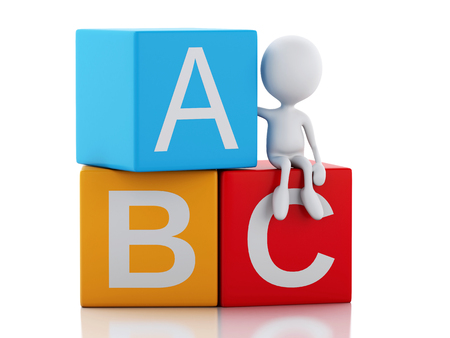 teacher students: 3d illustration. White people with ABC blocks. Isolated on white background.