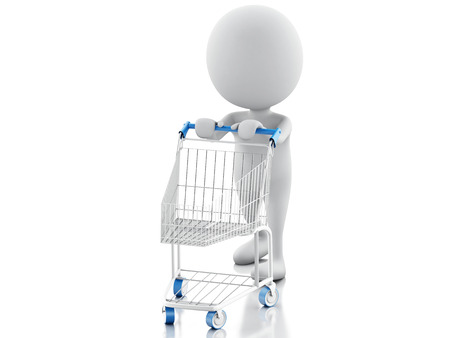 3d illustration. White people with shopping cart isolated on white background illustration