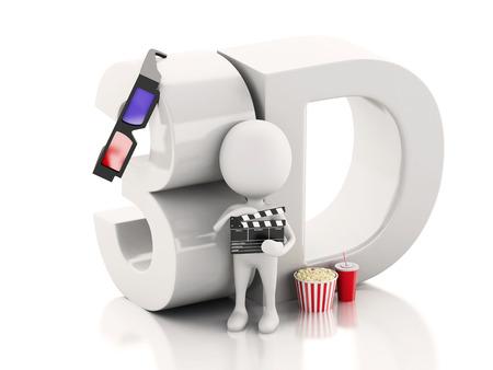 white man with cinema clapper, popcorn, drink and 3d glasses. cinematography concept. 3d renderer illustration illustration