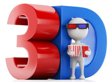 white man with popcorn, drink and 3d glasses. cinematography concept. 3d renderer illustration illustration