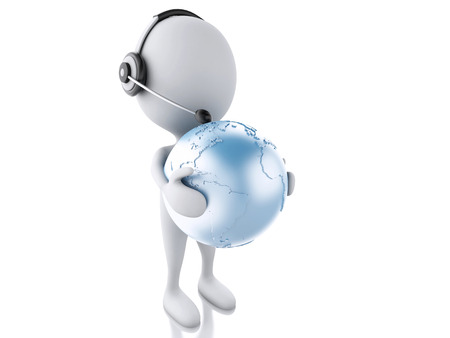 3d illustration. White person with headphones and earth globe. Global communication concept, isolated white background illustration