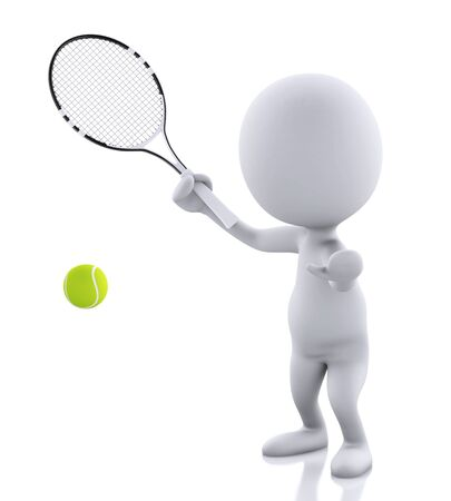 white people with tennis racket and ball. Isolated white background. 3d renderer image.
