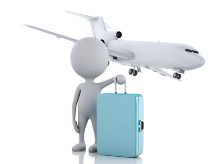 3d illustration. white people tourist with suitcases and a airplane, travel concept. Isolated white background.