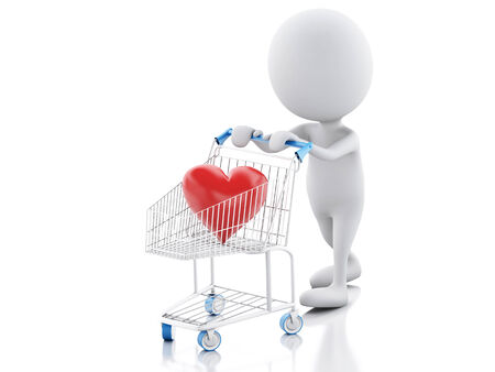 sentimental: 3d renderer imge. White people with red heart in the shopping cart.  valentine