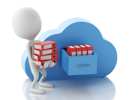 3d renderer illustration. White people with file storage and cloud. Cloud computing concept on white background