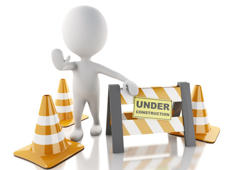 3d renderer imagen. White people stop sign with traffic cones.  Under construction concept.. Isolated white background. photo