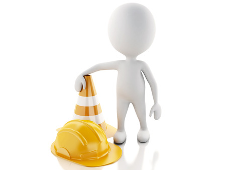 3d renderer imagen. White people with Helmet and traffic cones. Isolated white background. photo