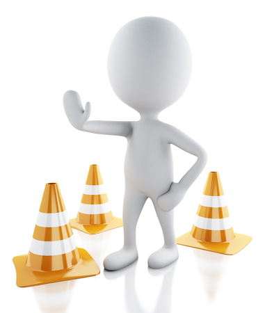 3d illustration. White people stop sign with traffic cones. Isolated white background. illustration