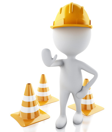 3d illustration. White people stop sign with helmet and traffic cones. Isolated white background. illustration