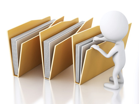 3d renderer image. White people examines yellow folders. Isolated white background
